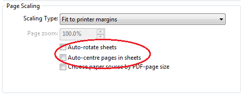 page scaling - sheets
