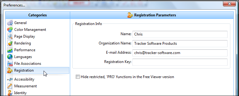 Tracker Software Products :: Knowledgebase :: How do I enter my PDF-XChange Viewer PRO serial number