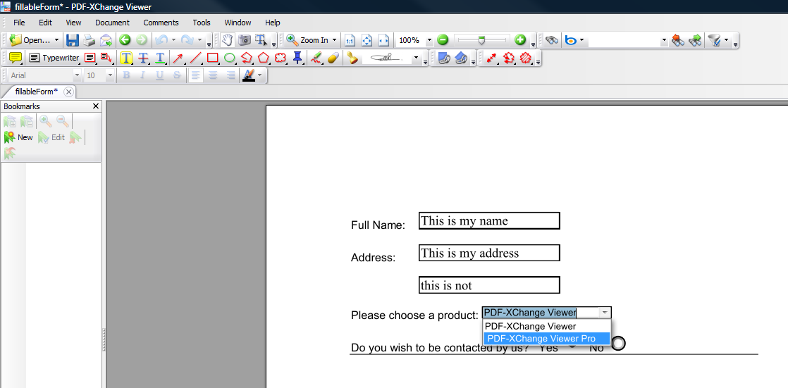 Create a fillable form